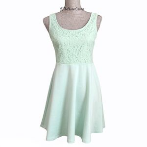 Altar'd State Mint Lace Fit and Flare Dress